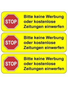 Briefkasten Aufkleber STOP, bitte keine Werbung ... TYP 2 | gelb