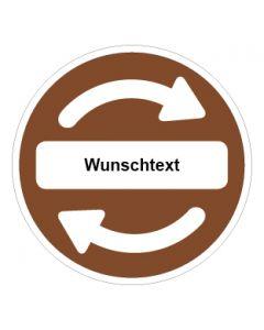 Recycling Wertstoff Mülltrennung Symbol Wunschtext braun · Aufkleber | Schild | Magnetschild
