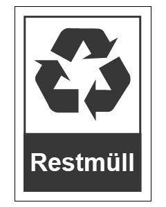 Recycling Wertstoff Mülltrennung Symbol Restmüll · Aufkleber | Schild | Magnetschild