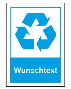Recycling Wertstoff Mülltrennung Symbol Wunschtext blau · Aufkleber | Schild | Magnetschild