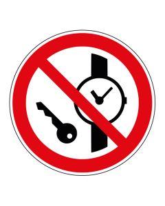 Verbotszeichen Mitführen von Metallteilen oder Uhren verboten · ISO 7010 P008