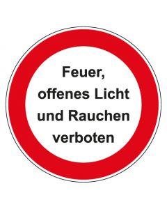 Verbotszeichen rund mit Text Feuer offenes Licht und Rauchen verboten   Aufkleber · Aluminiumschild · Magnetschild · Fußbodenaufkleber