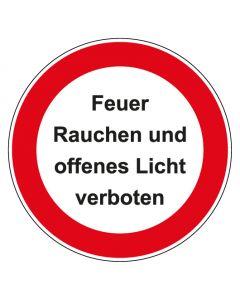 Verbotszeichen rund mit Text Feuer Rauchen und offenes Licht verboten   Aufkleber · Aluminiumschild · Magnetschild · Fußbodenaufkleber