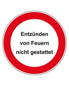 Verbotszeichen rund mit Text Entzünden von Feuern nicht gestattet   Aufkleber · Aluminiumschild · Magnetschild · Fußbodenaufkleber