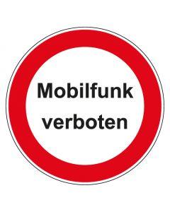 Verbotszeichen rund mit Text Mobilfunk verboten   Aufkleber · Aluminiumschild · Magnetschild · Fußbodenaufkleber