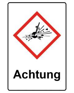 GHS Gefahrensymbol mit Text · Aufkleber | Schild | Magnetschild · Bombe, explosive Stoffe Achtung