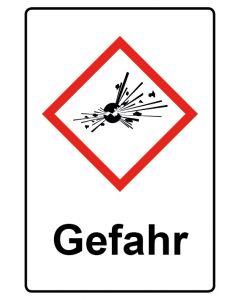 GHS Gefahrensymbol mit Text · Aufkleber | Schild | Magnetschild · Bombe, explosive Stoffe Gefahr