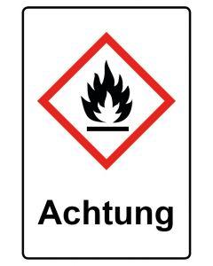 GHS Gefahrensymbol mit Text · Aufkleber | Schild | Magnetschild · Flamme, entzündbare Stoffe Achtung