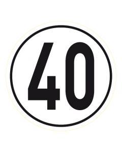 Geschwindigkeitszeichen · Aufkleber | Schild | Magnetschild · 40 km/h