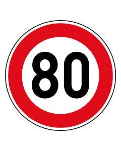 Verkehrszeichen Tempo Limit · Aufkleber | Schild | Magnetschild · 80 km/h