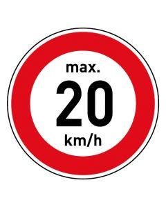 Verkehrszeichen · Aufkleber | Schild | Magnetschild · Zulässige Höchstgeschwindigkeit 20 km/h