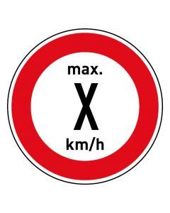 Verkehrszeichen · Aufkleber | Schild | Magnetschild · Zulässige Höchstgeschwindigkeit Wunschziffer km/h