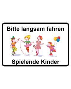 Hinweiszeichen · Aufkleber | Schild · Bitte langsam fahren · Spielende Kinder | Mod. 11