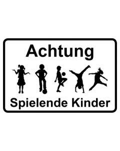 Hinweiszeichen · Aufkleber | Schild · Achtung Spielende Kinder | Mod. 35