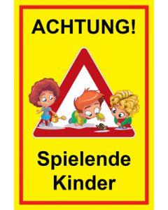 Hinweiszeichen · Aufkleber | Schild · Achtung Spielende Kinder | Mod. 133