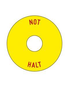 Aufkleber NOT HALT rund | gelb · rot