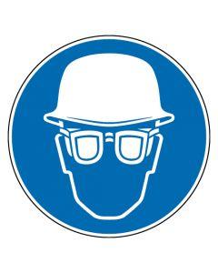 Gebotszeichen · Aufkleber | Schild | Magnetschild | Fußbodenaufkleber · Kopf- und Augenschutz benutzen
