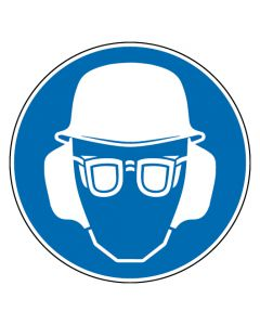 Gebotszeichen · Aufkleber | Schild | Magnetschild | Fußbodenaufkleber · Kopf-, Gehör- und Augenschutz benutzen