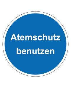 Gebotszeichen mit Text Atemschutz benutzen · Aufkleber | Schild | Magnetschild | Fußbodenaufkleber