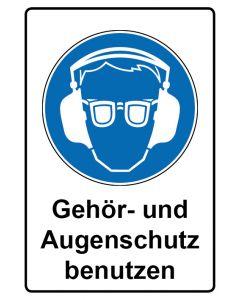 Gebotszeichen mit Text · Aufkleber | Schild | Magnetschild · Gehör- und Augenschutz benutzen