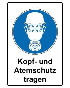 Gebotszeichen mit Text · Aufkleber | Schild | Magnetschild · Kopf- und Atemschutz tragen