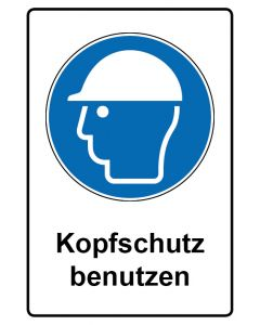 Gebotszeichen mit Text · Aufkleber | Schild | Magnetschild · Kopfschutz benutzen