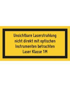 Hinweiszeichen · Aufkleber | Schild · Laserklasse 1M · Unsichtbare Strahlung