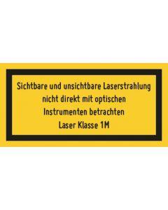 Hinweiszeichen · Aufkleber | Schild · Laserklasse 1M · Sichtbare und unsichtbare Strahlung