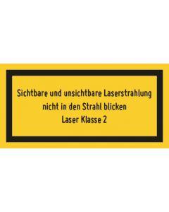 Hinweiszeichen · Aufkleber | Schild · Laserklasse 2 · Sichtbare und unsichtbare Strahlung