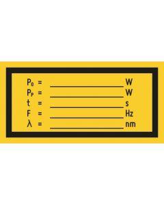 Hinweiszeichen · Aufkleber | Schild · Abgegebene Strahlung W · W · S  Hz · nm
