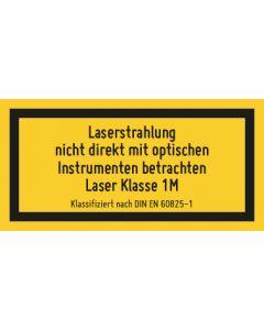 Hinweiszeichen · Aufkleber   Schild   Magnetschild · Laserklasse 1M · Unsichtbare Strahlung