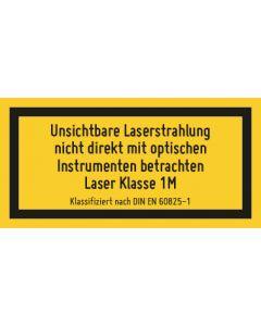 Hinweiszeichen · Aufkleber   Schild   Magnetschild · Laserklasse 1M · Sichtbare und unsichtbare Strahlung