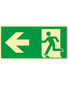 Rettungszeichen · Aufkleber | Schild | Magnetschild · kombiniert Fluchtrichtung Pfeil nach links · lang nachleuchtend