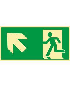 Rettungszeichen · Aufkleber | Schild | Magnetschild · kombiniert Fluchtrichtung Pfeil nach links oben · lang nachleuchtend