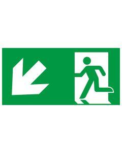 Rettungszeichen kombiniert · Aufkleber | Schild | Magnetschild · Fluchtrichtung Pfeil nach links unten