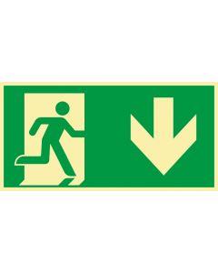 Rettungszeichen · Aufkleber | Schild | Magnetschild · kombiniert Fluchtrichtung Pfeil nach unten · lang nachleuchtend