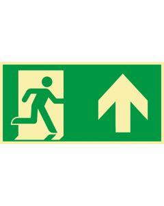 Rettungszeichen · Aufkleber | Schild | Magnetschild · kombiniert Fluchtrichtung Pfeil nach oben · lang nachleuchtend