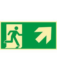 Rettungszeichen · Aufkleber | Schild | Magnetschild · kombiniert Fluchtrichtung Pfeil nach rechts oben · lang nachleuchtend