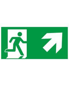 Rettungszeichen kombiniert · Aufkleber | Schild | Magnetschild · Fluchtrichtung Pfeil nach rechts oben