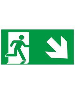 Rettungszeichen kombiniert · Aufkleber | Schild | Magnetschild · Fluchtrichtung Pfeil nach rechts unten