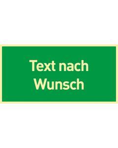 Rettungszeichen · Aufkleber | Schild | Magnetschild · Text nach Wunsch · lang nachleuchtend