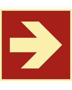 Brandschutzzeichen · Aufkleber | Schild | Magnetschild · Pfeil Richtungsangabe gerade · lang nachleuchtend