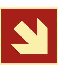 Brandschutzzeichen · Aufkleber | Schild | Magnetschild · Pfeil Richtungsangabe schräg · lang nachleuchtend