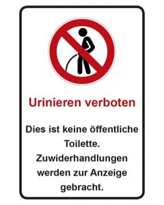 Schild | Aufkleber | Magnetschild Urinieren verboten · Dies ist keine öffentliche Toilette