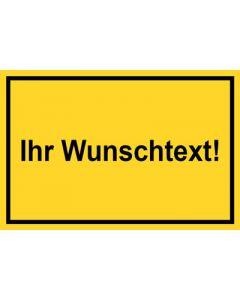 Baustellenzeichen · Aufkleber | Schild | Magnetschild · Wunschtext | gelb