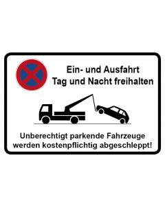 Parkverbotsschild Ein und Ausfahrt Tag und Nacht freihalten · Aufkleber | Schild | Magnetschild