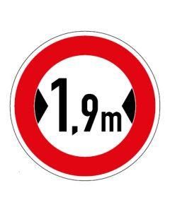 Verkehrszeichen Durchfahrtsbreite max. 1,9 m · Aufkleber | Schild | Magnetschild