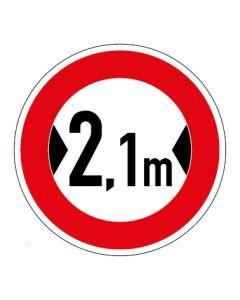 Verkehrszeichen Durchfahrtsbreite max. 2,1 m · Aufkleber | Schild | Magnetschild