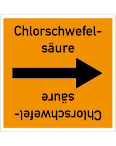 Rohrleitungskennzeichnung viereckig Chlorschwefelsäure | Aufkleber · Magnetschild · Aluminiumschild