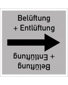 Rohrleitungskennzeichnung viereckig Belüftung + Entlüftung | Aufkleber · Magnetschild · Aluminiumschild